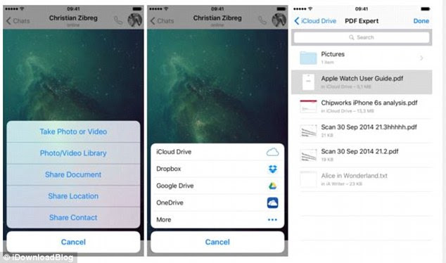 Users can now share photos, images and other files stored on other third party apps – including iCloud, Google Drive, Dropbox and Microsoft's OneDrive – with their contacts on WhatsApp (pictured)
