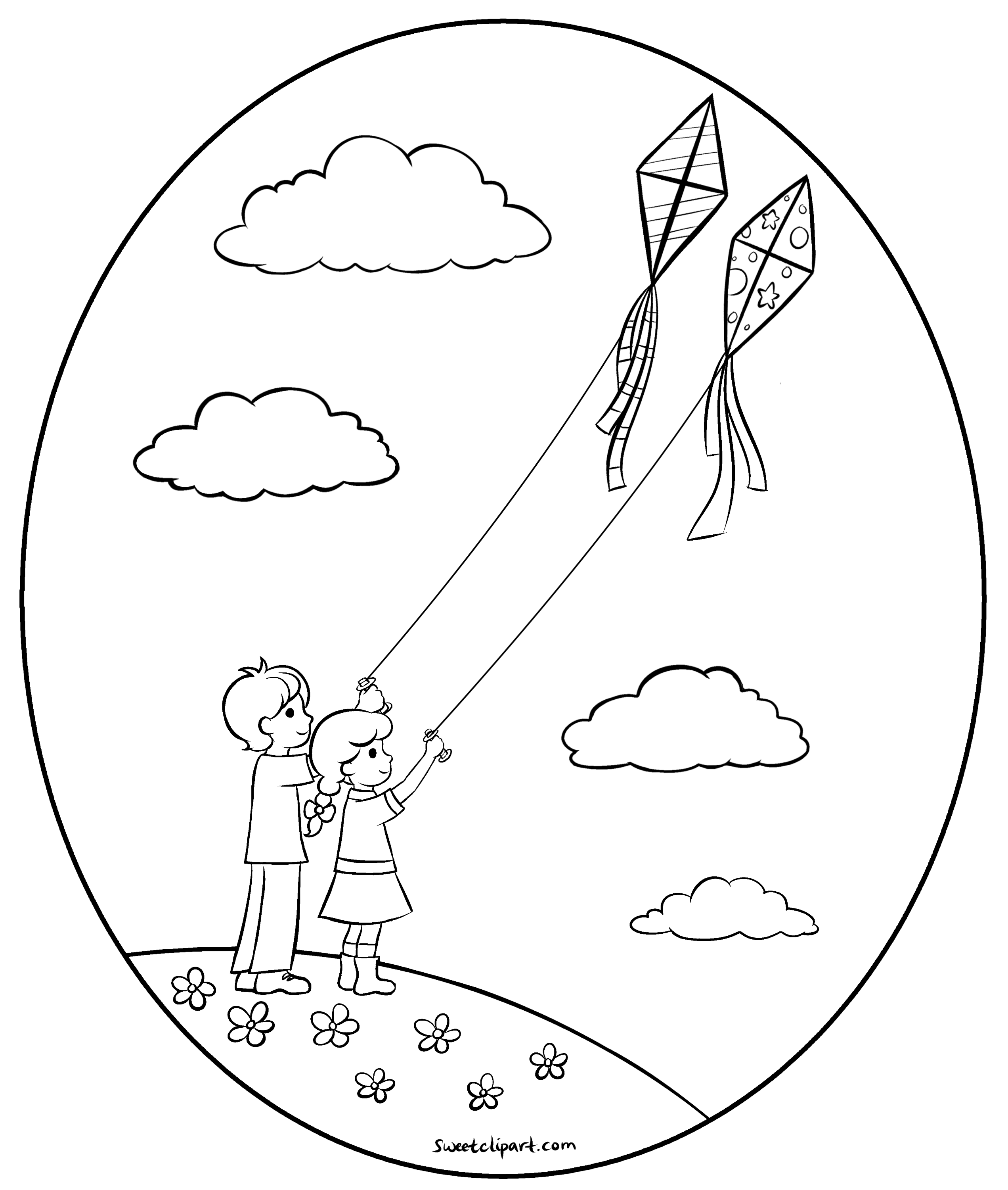 Flying Kites Coloring Page - Free Clip Art