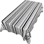 Carnation Home Fashions Bohemian Stripe 52 inchx90 inch Vinyl Flannel Backed Tablecloth, Size: 52 x 90, Black