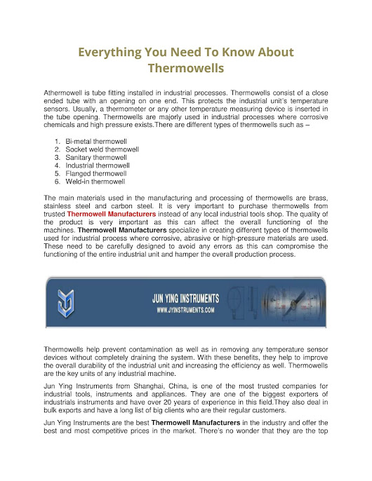 Everything You Need To Know About Thermowells