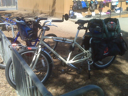 Our Xtracycle school bus. The best way to get to/from school!