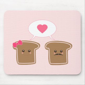 Kawaii Toast Love mousepad