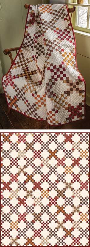 "PRAIRIE CROSSING QUILT KIT  So typical of the times.  You'll need to tell them it's not actually an antique!  Kit has Julie Hendricksen's piecing directions, and fabrics (prints and an ivory solid) for the top and binding.  • Quilt Size: 57"" x 72"" Throw  • Project: Pieced  • Project rating: Intermediate    Price:  $ 99.99"