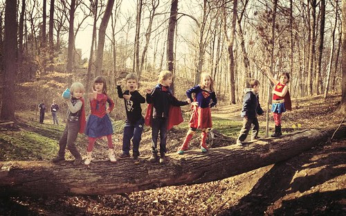 Super Heroes on a Log