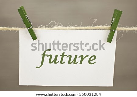 Note clipped on clothesline with the inscription Future