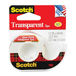 """Scotch 144 Transparent Tape With Dispensered Roll, 1/2"""" X 450"""", Gloss Finish"""