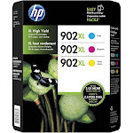 HP 902XL Ink Cartridge, Magenta/Cyan/Yellow - 3-pack