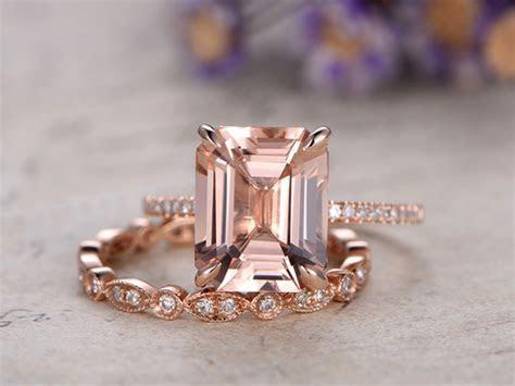 Rose Gold Morganite Engagement Ring Diamond Bridal Set