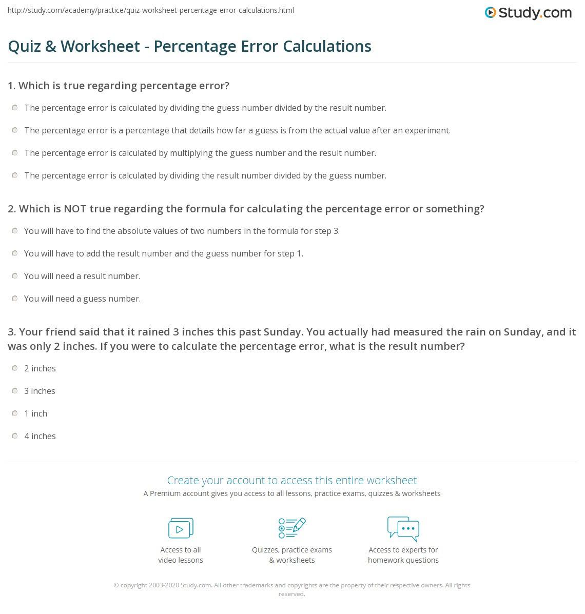 Quiz  Worksheet  Percentage Error Calculations  Study.com
