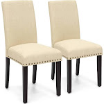 Best Choice Products Set of 2 Upholstered High Back Padded Accent Dining Chairs w/ Wood Legs, Studs - Ivory