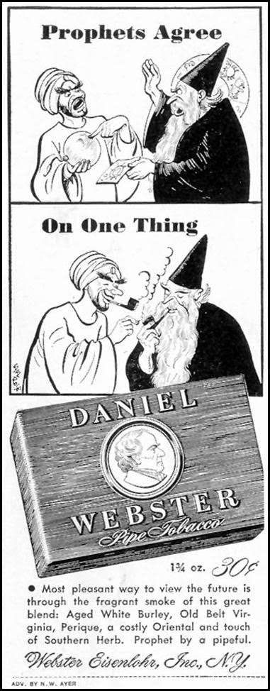 DANIEL WEBSTER PIPE TOBACCO SATURDAY EVENING POST 05/19/1945 p. 74