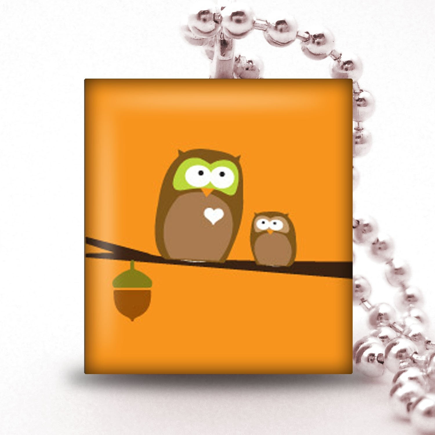 Scrabble Tile Pendant - ORANGE WITH TWO OWLS - Buy 2 Pendants Get 1 Free