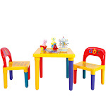 Gymax Letter Kids Table&Chairs Play Set Toddler Child Toy Home Activity Fun Furniture