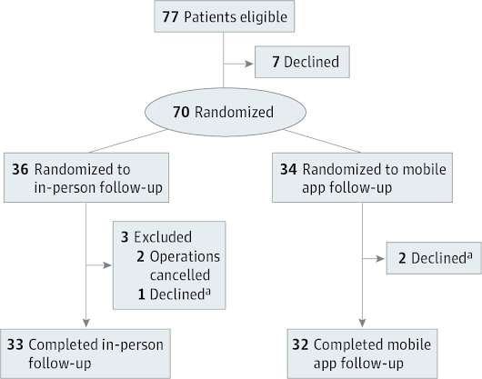 Effect of Home Monitoring via Mobile App on the Number of In-Person Visits Following Ambulatory Surgery: A Randomized Clinical Trial