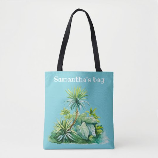 Tropical Palm Trees Watercolor Tote Bag
