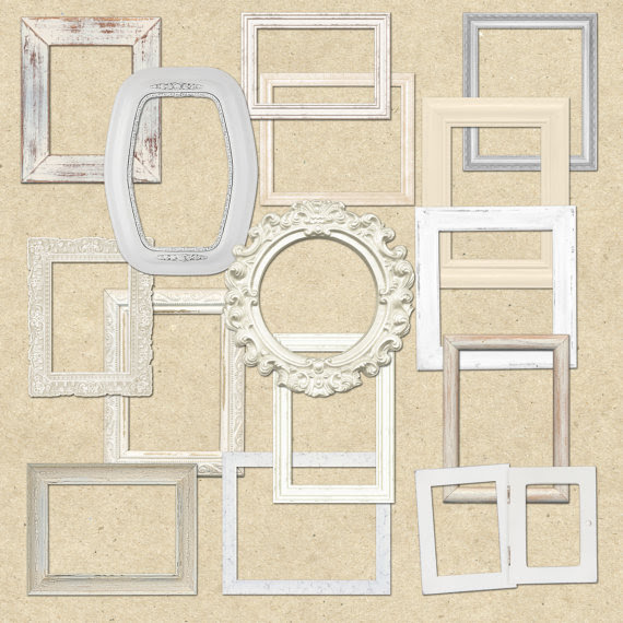 Shabby Chic White Wooden Frames Clipart For Scrapbooking Crafts