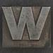 Caslon metal type letter W