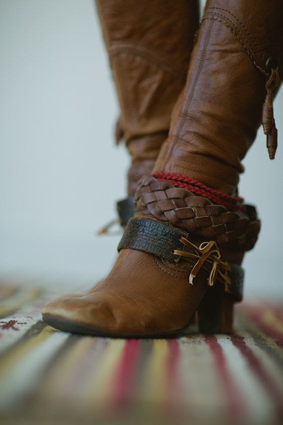 Boot Bracelet Accessory - Leather Boot Charm Bohemian Cuffs Decoration - Change Boot Style Layer and Style your Boots on Etsy, $68.00