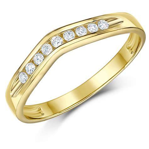 3mm 9 carat Yellow Gold Wishbone Diamond Set Wedding Ring