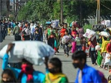 Exodus of migrant workers to their home states due to COVID-19 lockdown. PTI