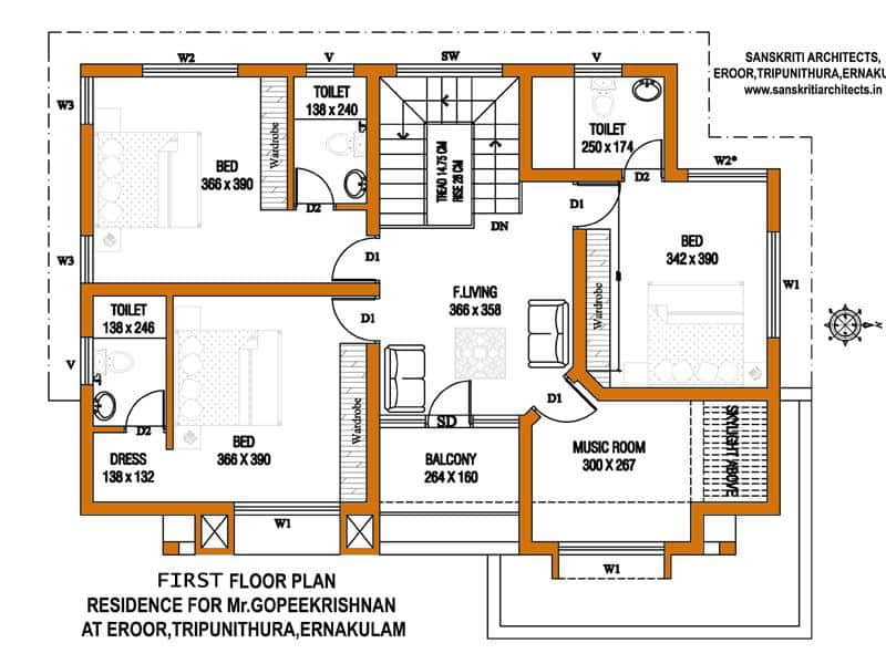 kerala home design first floor plan
