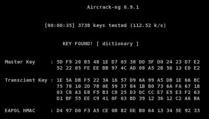 Aircrack-ng, Key Found!