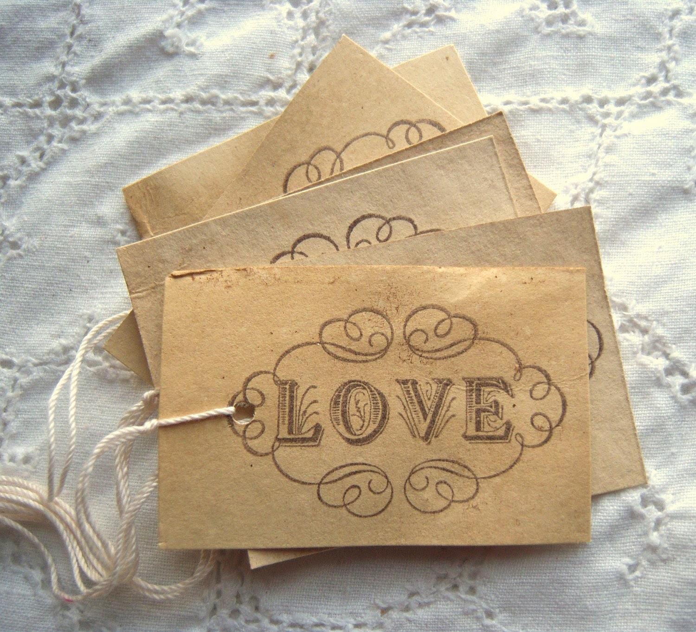 LOVE Tags, Elegant, Hand Dyed, Vintage Inspired, Scrolls