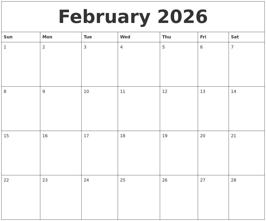 february 2026 free blank calendar