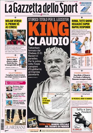 Claudio Ranieri features on the front page of La Gazzetta dello Sport