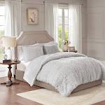 Madison Park Nova Faux Mohair Reverse Faux Mink Comforter Set, Full/Queen, Gray