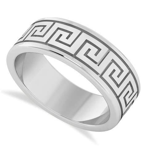 Men's Greek Key Eternity Wedding Band 14K White Gold   AD3599
