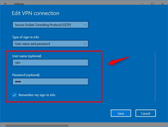 Agregar una conexión VPN: ingrese el nombre de usuario y la contraseña