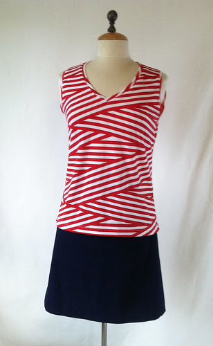 Red white t-shirt Girl Charlee fabric