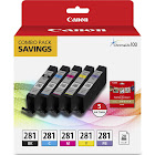 "Canon CLI 281 BKCMYPB/5""x5"" PP-301 Combo Pack Ink tank / paper kit, Cyan/Black/Magenta/Yellow/Photo Blue - 5-pack"