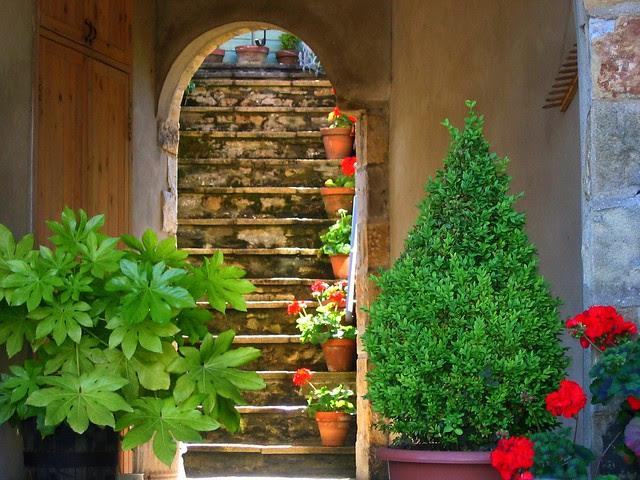 Doorway and Steps in Reeth in Swaledale, Yorkshire