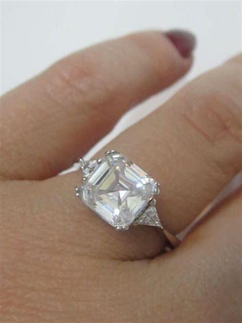 Asscher Cut Engagement Rings, Art Deco Style Asscher Cut