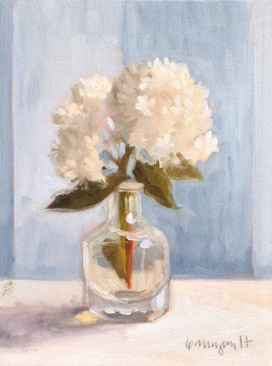 White Flower in Bottle Still Life Oil Painting on Canvas Board (2017) Oil painting by Caridad I. Barragan