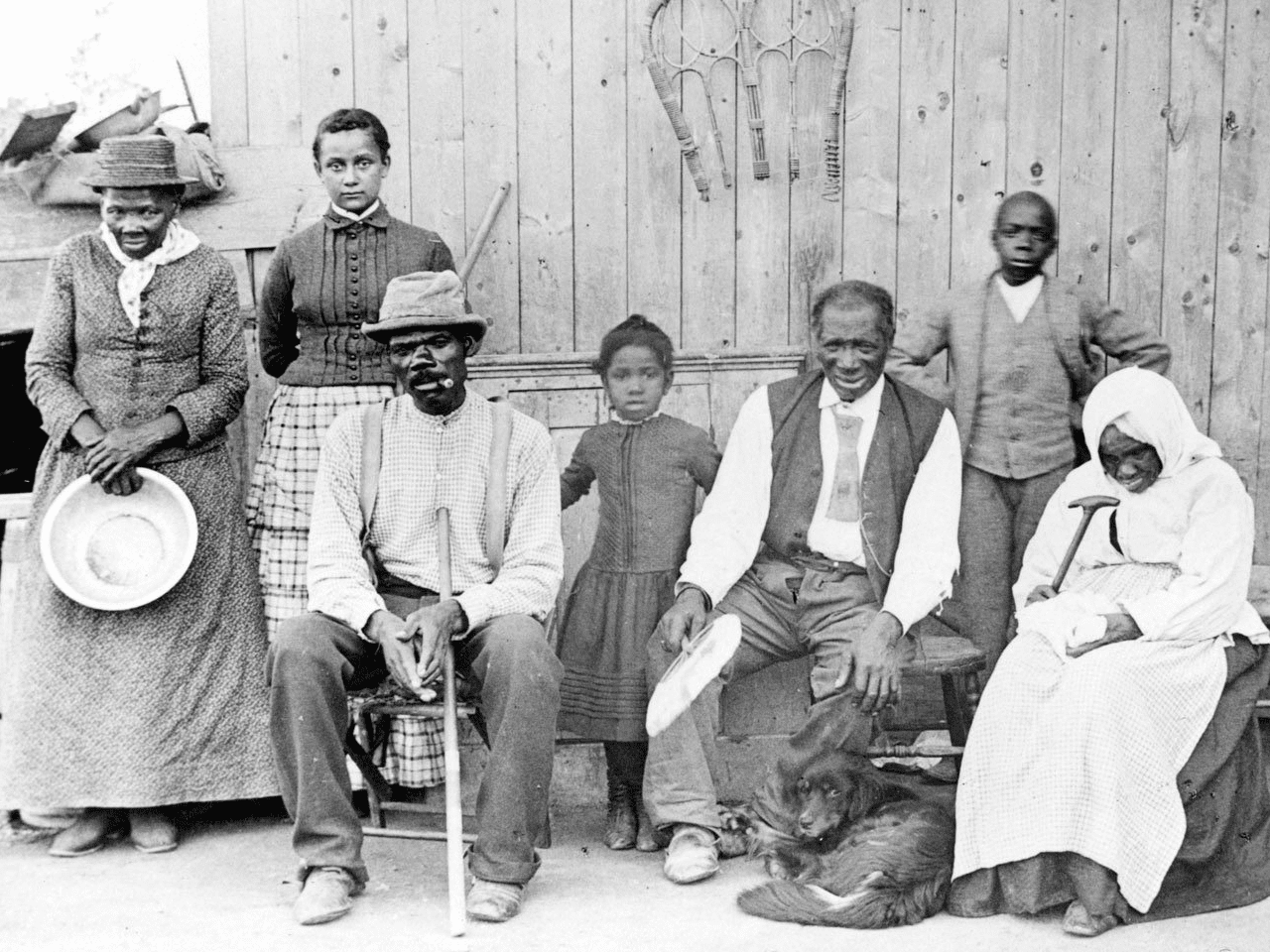 Harriet Tubman, with rescued slaves and family