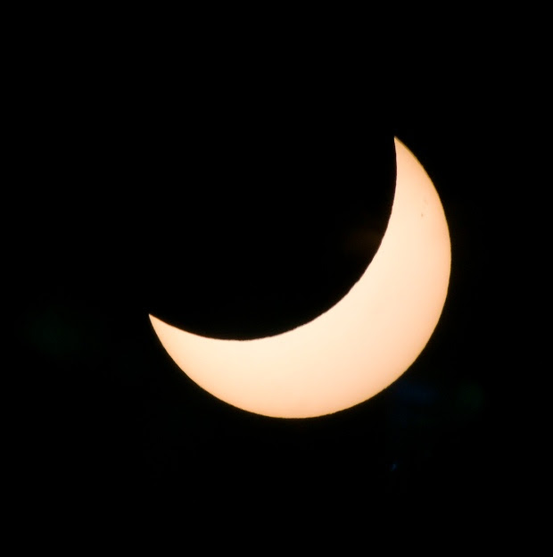 The solar eclipse in Los Angeles at 10:20 am photographed through a Celestron Telescope fitted with a solar filter with an iPhone 7. ( Photo by David Crane, Los Angeles Daily News/SCNG)