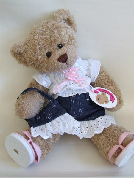 teddy bear clothes frilly denim outfit