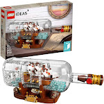 LEGO Ideas Ship in a Bottle 21313 Expert Building Kit, Snap Together Model Ship, Collectible Display Set and Toy for Adults (962 Pieces) Standard