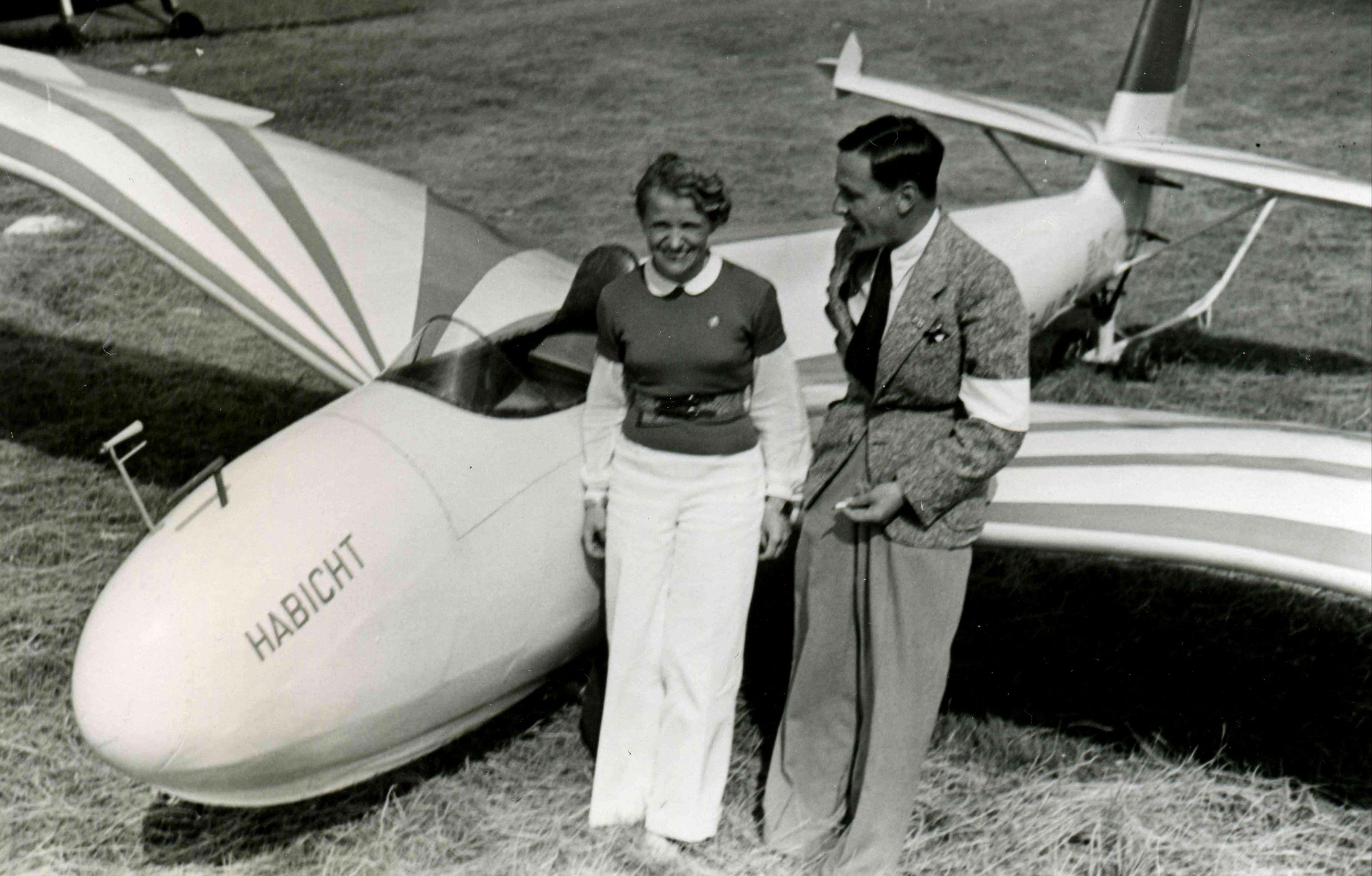 Hanna Reitsch with a DFS Habicht glider during an air show in Kassel-Waldau, Germany, 17 Jul 1938