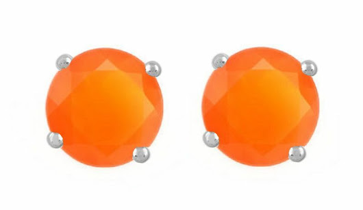 Details about 925 Sterling Pure Solid Silver Stud with Natural Carnelian Round Cut Earring