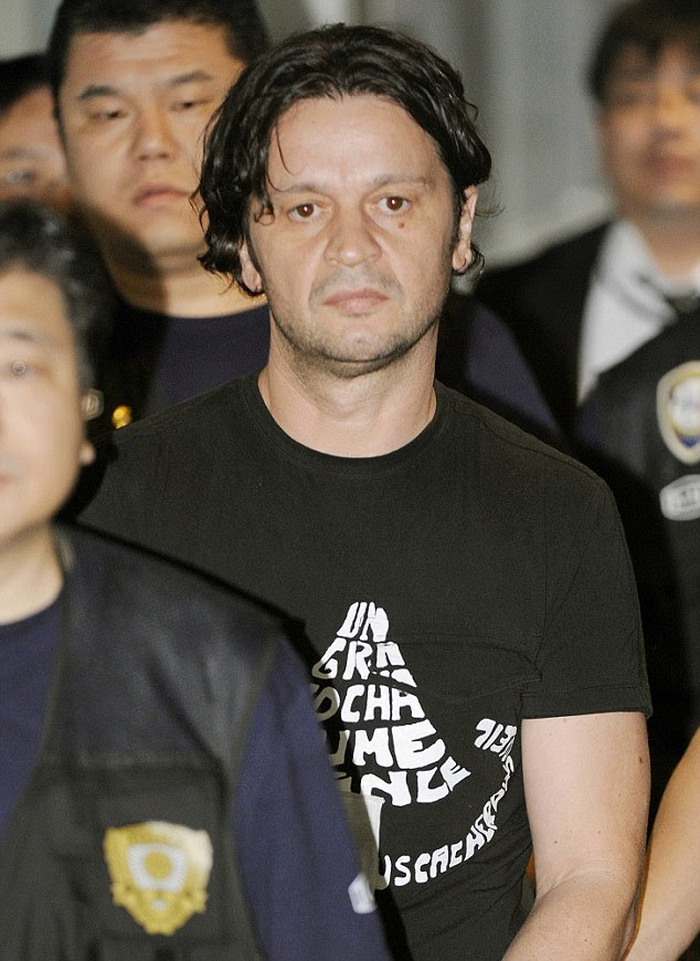 High security: Rifat Hadziahmetovic, an alleged Pink Panther, was extradited from Spain to Japan in 2010 over a 2007 robbery in Tokyo. He was jailed for 10 years in 2011
