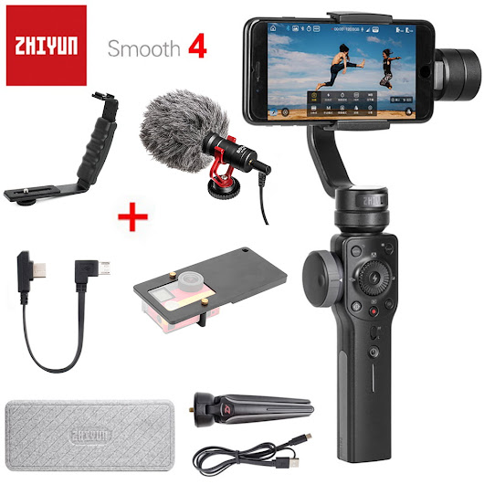 Zhiyun Smooth 4 3-Axis Handheld Smartphone Gimbal Stabilizer VS Zhiyun Smooth Q Model for iPhone X 8Plus 8 7 6S Samsung S9 S8 S7 - DynaGrace Enterprises