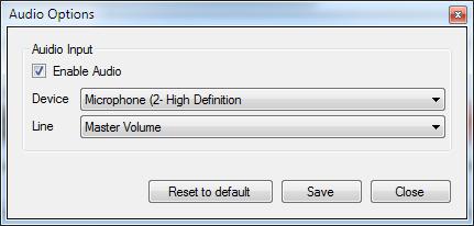 Camtica Opciones de audio
