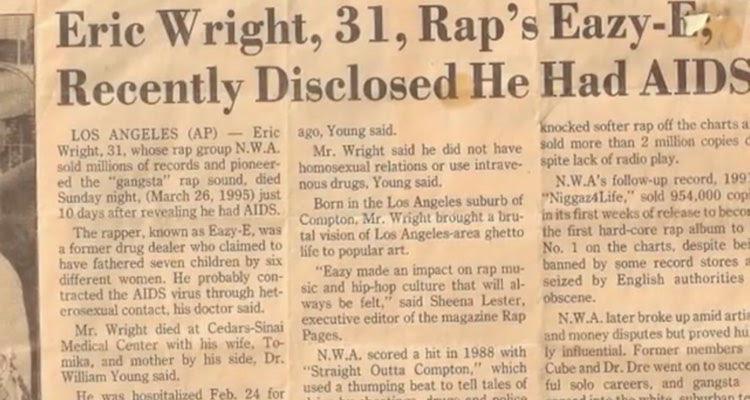 Headline: Eric Wright, 31, Rap's Eazy-E, Recently Disclosed He Had AIDS