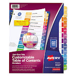 Customizable TOC Ready Index Multicolor Dividers, 12-Tab, Letter 11127