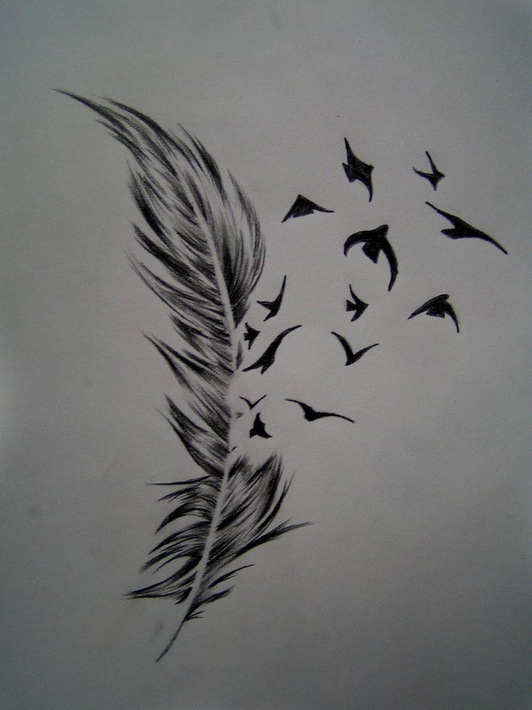 Beautiful Bird Of A Feather Tattoo Design Sketch Tattoomagz
