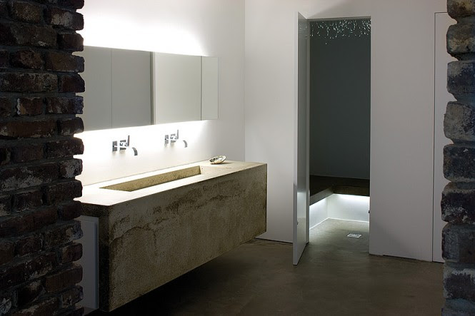 Concrete bathroom basin